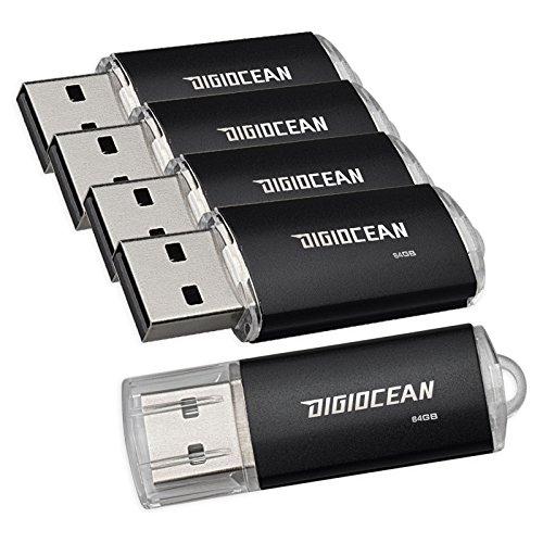 DigiOcean 64 GB USB 20 Flash Drive Pack Of 5 Thumb Drives Black